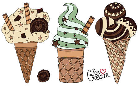 Set vector chocolate Ice cream for isolated on the white background. Ice cream chocolate.