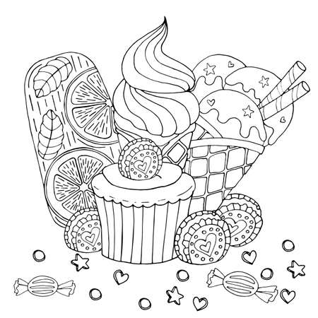 Coloring page with cake, cupcake, candy, ice cream and other dessert. Sweet dessert coloring book. Vector isolated dessert.