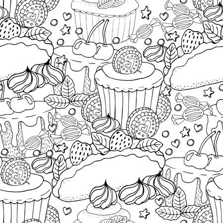 Seamless pattern with cake, cupcake, candy and other dessert with berry. Sweet dessert coloring book. Vector isolated dessert. Stock Vector - 122715080