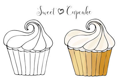 Vector isolated cake or cupcake, dessert coloring. Sweet dessert coloring book. Vector isolated dessert.