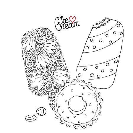 Coloring page with cake, cupcake, candy and other dessert. Sweet dessert coloring book. Vector isolated dessert.