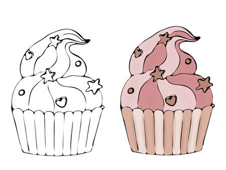 Vector isolated coloring bakery products, dessert. Sweet dessert coloring book. Vector isolated bakery coloring. 向量圖像
