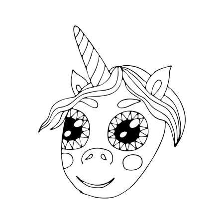 Black line Unicorn for coloring book or page. Cute Unicorn. Coloring vector Unicorn. Animal coloring.