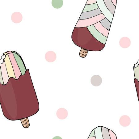 Vector ice cream vector seamless pattern.Trendy seamless pattern with Ice cream modern summer fashion print background. Illustration