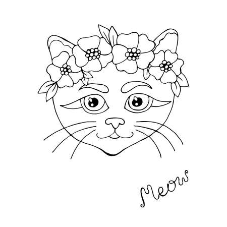 Cartoon cat for coloring book or pages. Sweet black line cat. Cat coloring.