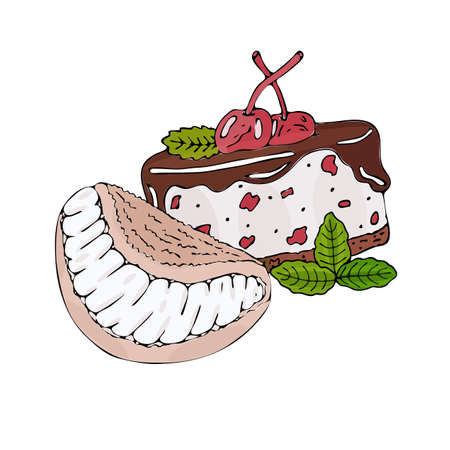 Vector colorful dessert isolated on the white. Sweet dessert for menu, sticker, card and other design. Illustration
