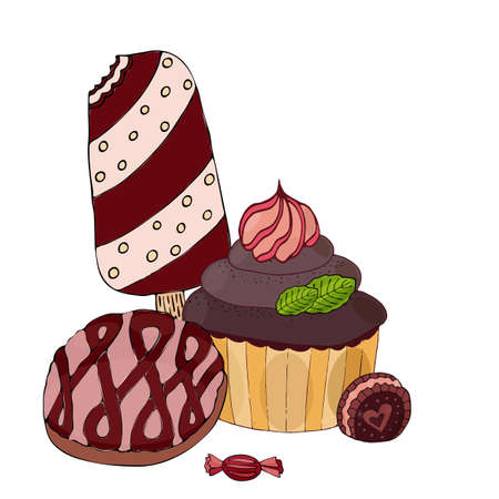Vector colorful cake, cupcake, candy and ice cream isolated on the white. Sweet dessert for menu, sticker, card and other design.