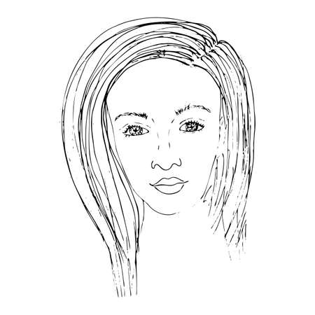 Portrait of a beautiful girl for coloring, covers, stickers, t-shirts and other designs. Beautiful woman vector. Illustration
