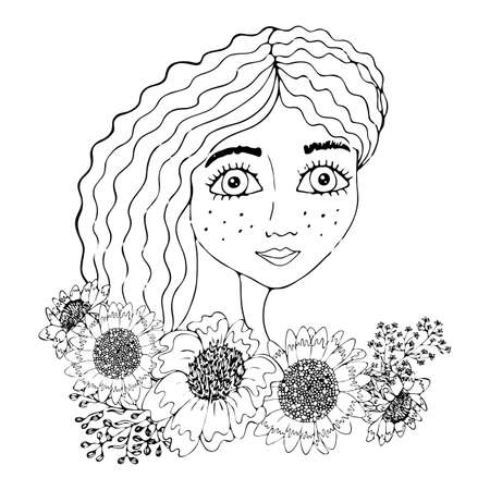 Portrait of a beautiful girl with flower for coloring, covers, stickers, t-shirts and other designs. Beautiful woman vector.