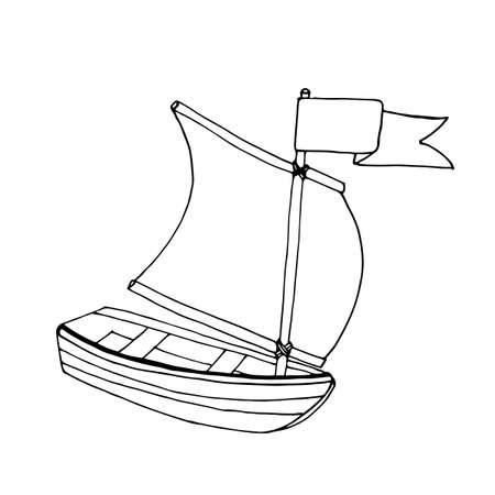 Black line ship or boat for coloring book. Vector transport. Coloring pages with ship or boat.