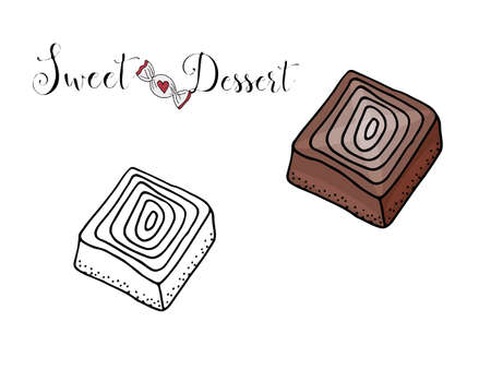 Vector isolated dessert with candy on the white background. Sweet dessert coloring book. Vector isolated dessert.