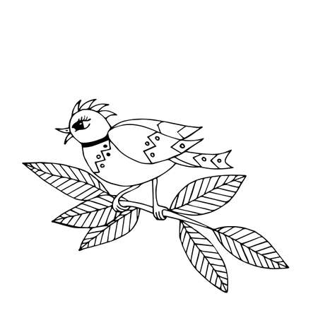 Cartoon bird for coloring book or pages. Sweet black line bird. Bird coloring.
