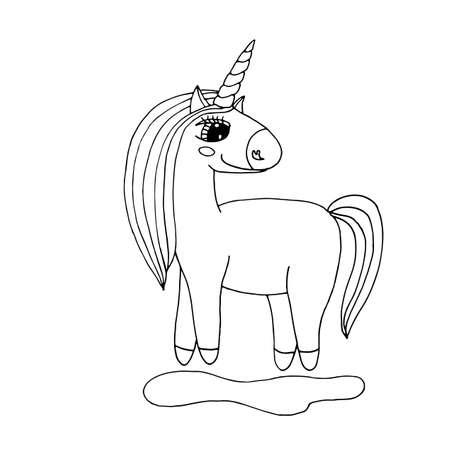 Black line Unicorn for coloring book or page. Cute Unicorn. Illustration