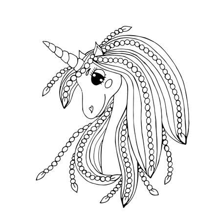 Black line Unicorn for coloring book or page. Cute Unicorn. Çizim