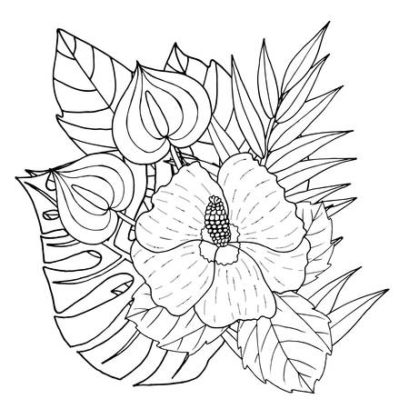 Vector Hibiscus flower line art on white. Hibiscus flower isolated.