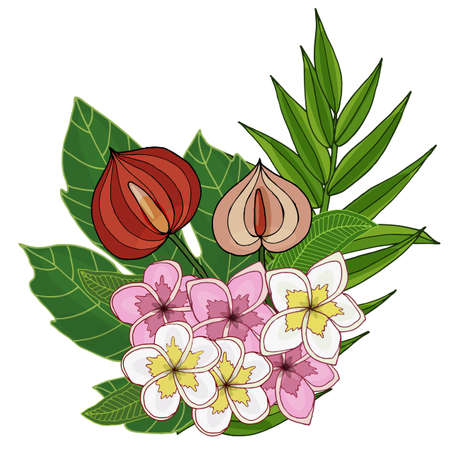 Summer tropical leaves and flower vector. Vector illustration with exotic flowers and leaves. Exotic colorful tropical bouquet.