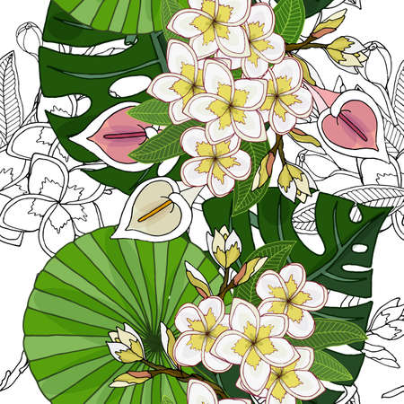 Vertical seamless border with beautiful frangipany, Calla and palm leaf vector illustration. Exotic flowers seamless pattern.