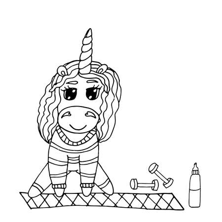 Black line Unicorn for coloring book or page. Cute Unicorn. Nursery coloring unicorn.