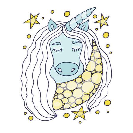 Multicolored Unicorn for nursery design and page. Cute vector Unicorn. Nursery coloring unicorn.