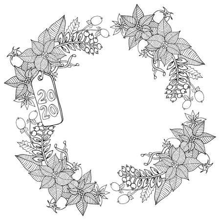 Boże Narodzenie 2020 ramka lub wieniec kolorowanka lub strona. Grafika wektorowa nowego roku 2020. Kwiatowy, ozdobny, dekoracyjny, plemienny, wystrój, Boże Narodzenie. Koncepcja wakacje. Świąteczna kolorowanka do kolorowania