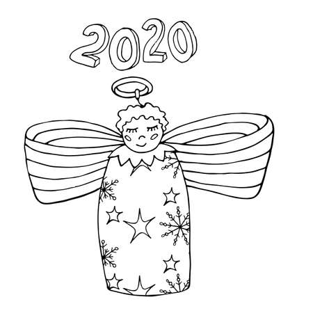 Christmas or New Year 2020 coloring vector page. Coloring sheets for Christmas or New Year party. Printable holiday coloring page.