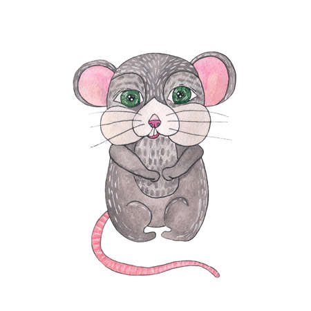 Watercolor rat isolated on the white background. Rat watercolor illustration.