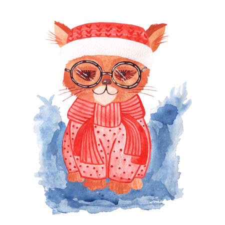 Watercolor cat isolated on the white background. Cat watercolor illustration. 스톡 콘텐츠
