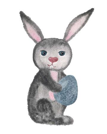 Aquarell-Osterhase mit farbigem Ei. Aquarell-Osterkarte mit traditionellen Symbolen auf weißem Hintergrund. Nette Babykaninchenillustration für Design