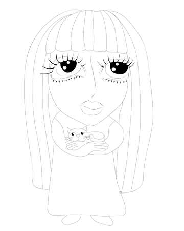 Little girl coloring book or page isolated on white background. Beautiful girl coloring book vector.