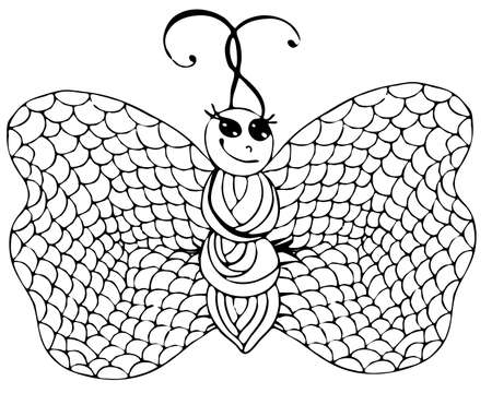 Abstract isolated black line butterfly  for tattoo, coloring book for adult and kids on the white background.