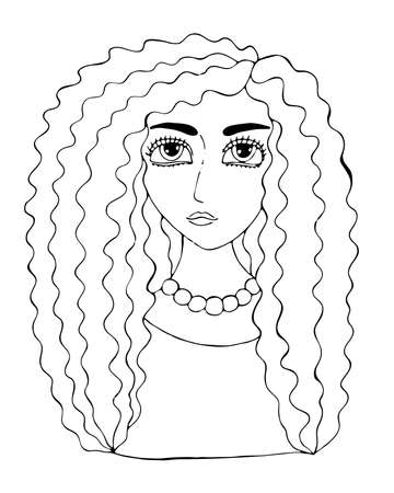 Black line girl for coloring page or coloring book. Isolated beautiful girl.