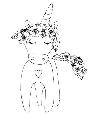 Black line Unicorn for coloring book or page. Cute Unicorn. Isolated line unicorn