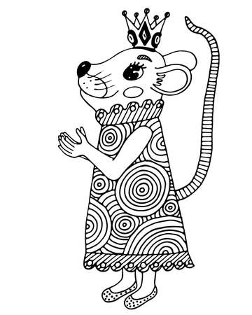 Black line animal isolated on the white background. Animal coloring book or page.