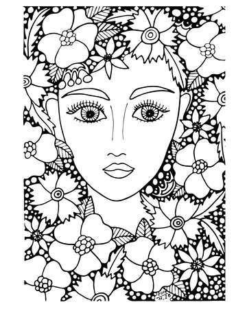 Black line girl isolated on the white background. People coloring book or page.