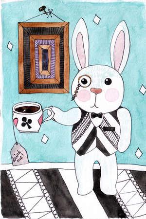 Cartoon watercolor rabbit with tea or coffee in a fantasy room. Watercolor fantasy card with rabbit.