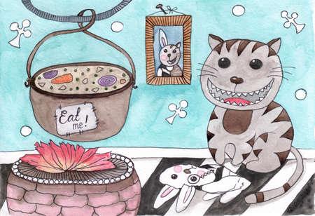 Cartoon watercolor cat with rabbit costume in fantasy room. Watercolor cat card. Stok Fotoğraf