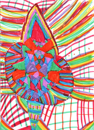 Abstract card witn colorful lines. Hand drawn abstract picture. Stok Fotoğraf