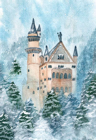 Watercolor castle with trees winter nature. Watercolor fort or castle.