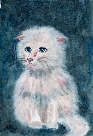 Watercolor beautiful cat on retro vintage blue background. Watercolor white cat.