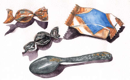Watercolor isolated candy and spoon. Gold watercolor cover candy and spoon. Stok Fotoğraf