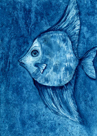 Watercolor blue fish on blue background. Watercolor fish in water. Stok Fotoğraf