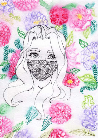 Watercolor girl in mask on fase with flower background. Beautiful girl in mask watercolor.
