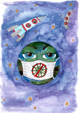 Watercolor earth planet in mask on the spase with rocket and stars. Watercolor planet with mask.