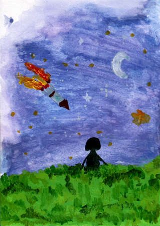 Watercolor silhouette girl see on the space with rocket and star. Watercolor space. Stok Fotoğraf