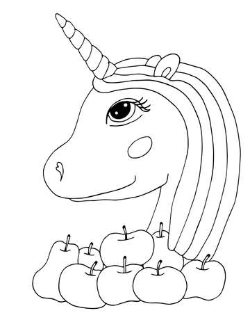 Cute cartoon Unicorn for coloring book or page. Isolated line unicorn.