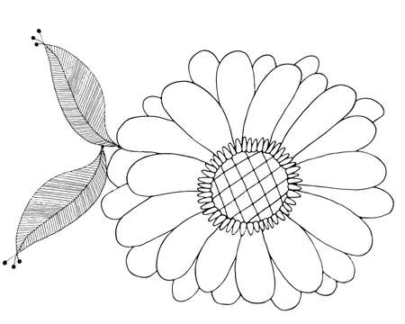 Art line flower isolated on the white background. Coloring flower for coloring page or book.