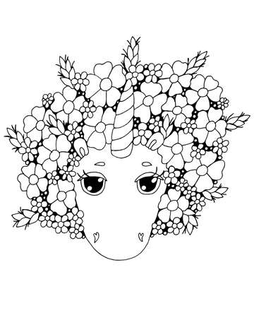 Cute cartoon Unicorn for coloring book or page. Isolated line unicorn. Unicor coloring sheet.