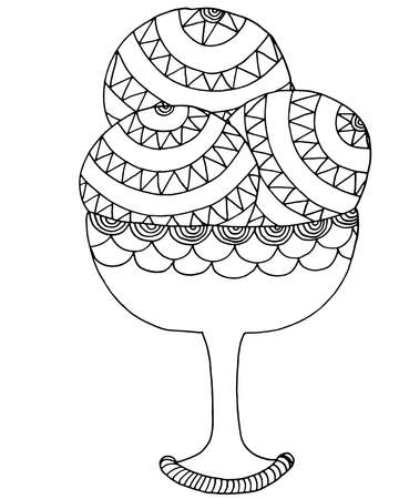 Vector Ice cream for coloring book for adult and kids. Black line Ice cream coloring page. Vectores