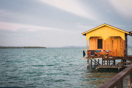 Little hut with sunrise lights near the Egang - egang and Bum bum island in Semporna, Borneo Sabah. 写真素材