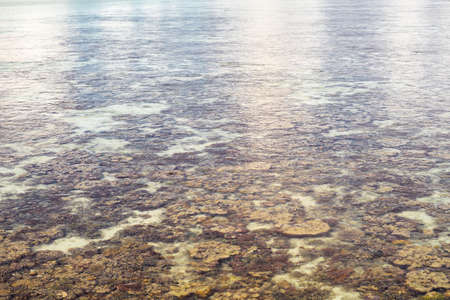 Roral reef around an island in Celebes Sea during low tide, which makes amazing scenery and shows small marine organisms. Remote islands in Bum Bum Island with healthy coral reef.